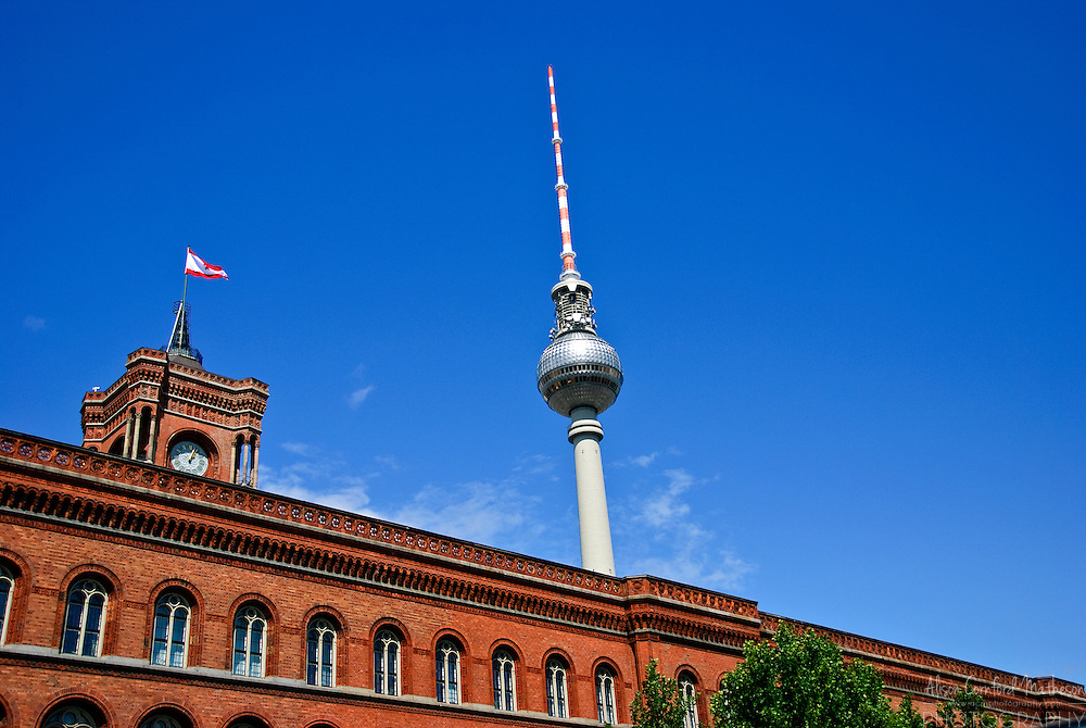 The Rotes Rathaus or (Red toen hall) shown in front of the Fernsehturm Television tower in Berlin Germany The Fernsehturm is a Television tower in Berlin.
