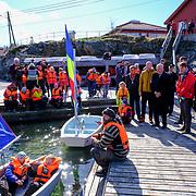 Oslo  20170424.<br /> Kong Harald bes&oslash;ker leirskolen Haraldvigen i Kristiansand mandag.<br /> Foto: Tor Erik Schr&oslash;der / NTB scanpix