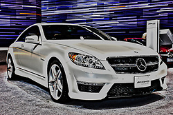 08 February 2012: 2012 MERCEDES-BENZ CL-CLASS: For 2012, Mercedes-Benzs premium two-door coupe line, the CL coupe, is offered with a choice of V8 or V12 power, plus high-performance AMG packages of each. The biturbo-powered direct-injection CL550 4MATIC coupe (429 hp, 516 lb. ft. of torque) has standard all-wheel drive, and the CL63 AMG model comes with a high-performance direct-injection 5.5-liter AMG version of the biturbo V8 (536 hp, 590 lb. ft.), complete with ECO Stop/Start and AMG's award-winning MCT transmission. The V12 powered CL600 (510 hp, 612 lb. ft.) and the CL65 AMG (621 hp, 738 lb. ft.) round-out the CL coupe line. All CL four-passenger coupes are available with innovative technology, including the new Spotlight Function that is part of its infra-red based Night View Assist PLUS feature; Splitview dual-content viewscreen, ATTENTION ASSIST, which can alert drivers to the first signs of drowsiness, optional Active Lane Keeping Assist that recognizes lane markings and the revolutionary feature - PRE-SAFE brake, which automatically applies braking in certain types of emergencies. Chicago Auto Show, Chicago Automobile Trade Association (CATA), McCormick Place, Chicago Illinois This image was produced in part utilizing High Dynamic Range (HDR) or panoramic stitching or other computer software manipulation processes. It should not be used editorially without being listed as an illustration or with a disclaimer. It may or may not be an accurate representation of the scene as originally photographed and the finished image is the creation of the photographer.