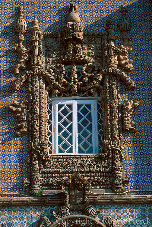 PORTUGAL, SINTRA AND PENA PALACE an architectural fantasy of neo-Gothic and Manueline styles, c.1840; famous window with motifs of the sea