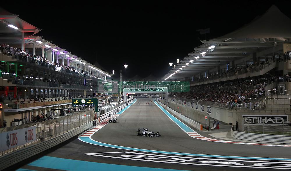 Mercedes' Lewis Hamilton leads Nico Rosberg during the Abu Dhabi Grand Prix at the Yas Marina Circuit, Abu Dhabi.