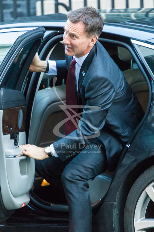 London, January 16 2018. Secretary of State for Health and Social Care Jeremy Hunt attends the UK cabinet meeting at Downing Street. © Paul Davey