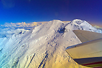 Aerial view of the North Peak of Mt. McKinley, the Alaska Range, Denali National Park, Alaska