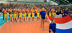 05-06-2011 VOLLEYBAL: EUROPEAN LEAGUE NETHERLANDS - GREECE: LEEK<br /> Netherlands listen to National anthem<br /> ©2011-FotoHoogendoorn.nl