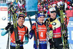 March 10, 2019 - –Stersund, Sweden - 190310 Quentin Fillon Maillet of France, Dmytro Pidruchnyi of Ukraine and Johannes Thingnes Bö of Norway celebrates after the Men's 12,5 km Pursuit during the IBU World Championships Biathlon on March 10, 2019 in Östersund..Photo: Petter Arvidson / BILDBYRÃ…N / kod PA / 92255 (Credit Image: © Petter Arvidson/Bildbyran via ZUMA Press)
