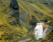 Waterfall along the Fjarthrá River south Iceland, Europe