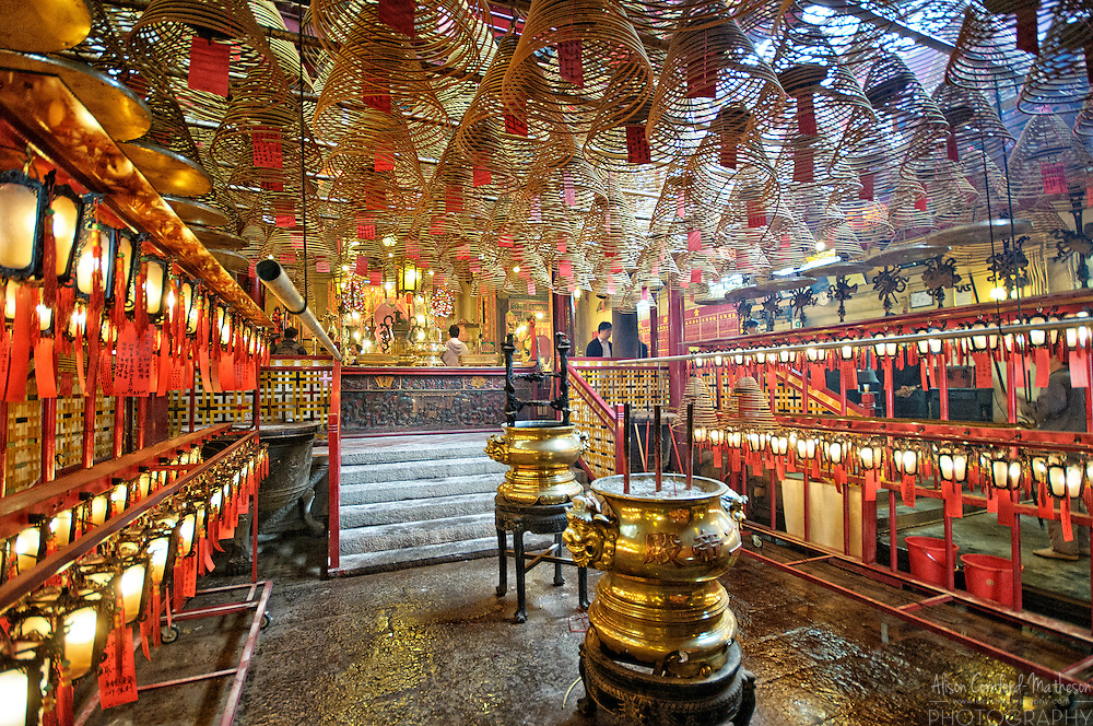 Incense spirals burn inside Man Mo Temple in Hong Kong, China