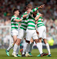 Celtic's Olivier Ntcham (centre) celebrates scoring their second goal against Motherwell during the William Hill Scottish Cup Final at Hampden Park, Glasgow.