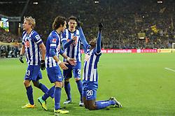 21.12.2013, Signal Iduna Park, Dortmund, GER, 1. FBL, Borussia Dortmund vs Hertha BSC, 17. Runde, im Bild Adrian Ramos Vasquez #20 (Hertha BSC Berlin) beim Torjubel nach seinem Treffer zum 1:1 mit vl: Per Ciljan Skjelbred #13 (Hertha BSC Berlin), Hajime Hosogai #7 (Hertha BSC Berlin), Nico Schulz #26 (Hertha BSC Berlin), Emotion, Freude, Glueck, Positiv // during the German Bundesliga 17th round match between Borussia Dortmund and Hertha BSC at the Signal Iduna Park in Dortmund, Germany on 2013/12/21. EXPA Pictures © 2013, PhotoCredit: EXPA/ Eibner-Pressefoto/ Schueler<br /> <br /> *****ATTENTION - OUT of GER*****