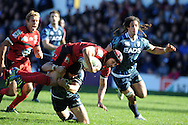 Matt Giteau of Toulon is tackled by Leigh Halfpenny as Jonny Wilkinson (l) supports. Heineken cup, pool 6 match, Cardiff Blues v Toulon at Cardiff Arms Park in Cardiff, South Wales on Sunday 21st October 2012. pic by Andrew Orchard, Andrew Orchard sports photography,