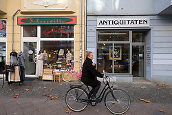 Independent shops in  upmarket Hufelandstrasse in gentrified district of Prenzlauer Berg in Berlin Germany