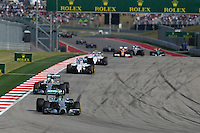 Nico Rosberg (GER) Mercedes AMG F1 W05 leads at the start of the race.<br /> United States Grand Prix, Sunday 2nd November 2014. Circuit of the Americas, Austin, Texas, USA.