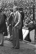 Kerry manage on the side line looking disappointed during the All Ireland Senior Gaelic Football Final Dublin v Kerry in Croke Park on the 26th September 1976. Dublin 3-08 Kerry 0-10.