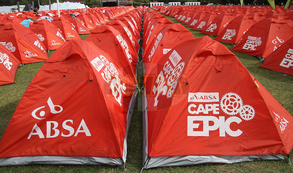 Participants tents during stage 2 of the 2012 Absa Cape Epic Mountain Bike stage race held from Robertson Primary School in Robertson, South Africa on the 27 March 2012..Photo by Shaun Roy/Cape Epic/SPORTZPICS