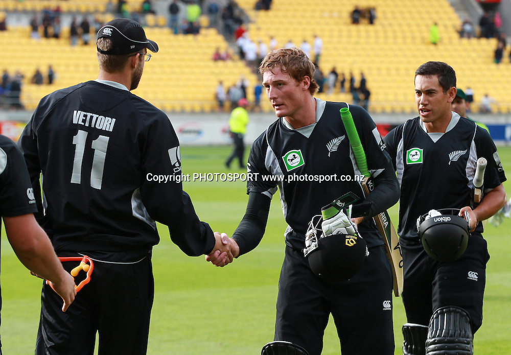 Martin Guptill shakes hands with Daniel Vettori at the end of the match. New Zealand Black Caps v Pakistan, ODI Cricket. Match 1, Westpac Stadium, Wellington, New Zealand. Saturday 22 January 2011. Photo: Andrew Cornaga/photosport.co.nz