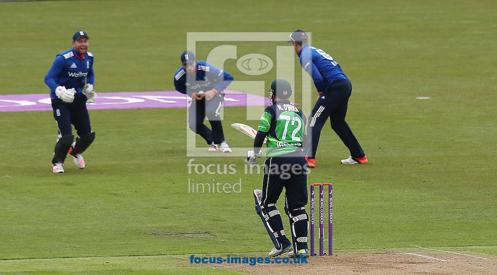 Niall O'Brien of Ireland caught behind by James Woods of England during the One Day International match at the Village, Malahide<br /> Picture by Lorraine O'Sullivan/Focus Images Ltd +353 872341584<br /> 08/05/2015
