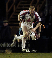 Photo: Jed Wee.<br /> Leeds Tykes v Bristol Rugby. Guinness Premiership. 10/02/2006.<br /> <br /> Bristol's Lee Robinson breaks clear for his try.