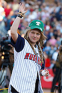 MAY 14, 2010: American Idol Contestant Crystal Bowersox thorw out the first pitch at the Toledo Mudhens MiLB baseball game for her hometown celebration in Toledo, Ohio.