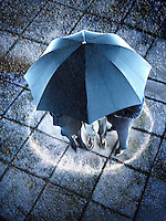 Businesspeople hidden under one umbrella