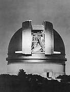 200-inch Hale telescope at Palomar Observatory shown at night. Built in 1948 and named for George Ellery Hale (1868-1938) Courtesy of Mount Wilson and Palomar Observatories.