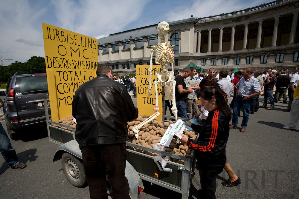 BRUSSELS - BELGIUM - 18 JUNE 2008 -- Hundreds of Farmers from belgian Wallonia went with their tractors to brussels to protest against high fuel cost the day before an EU summit to push leaders for help coping with skyrocketing fuel prices. A skeleton and potatoes.  Photo: Erik Luntang