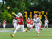South Squad's Brian Abraham, from Xaverian Brothers High School, chases down a pass during the Shriner's All-Star Football Classic at Bentley University in Waltham, June 22, 2018.   [Wicked Local Photo/James Jesson]