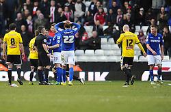 Birmingham City's Stephen Gleeson (right) is sent off for a challenge on Brentford's Alex Pritchard  - Photo mandatory by-line: Joe Meredith/JMP - Mobile: 07966 386802 - 28/02/2015 - SPORT - Football - Birmingham - ST Andrews Stadium - Birmingham City v Brentford - Sky Bet Championship