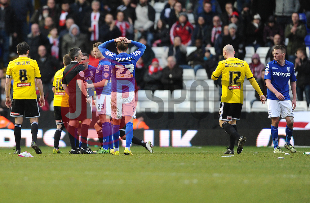 Birmingham City's Stephen Gleeson (right) is sent off for a challenge on Brentford's Alex Pritchard  - Photo mandatory by-line: Joe Meredith/JMP - Mobile: 07966 386802 - 28/02/2015 - SPORT - Football - Birmingham - ST Andrews Stadium - Birmingham City v Brentford - Sky Bet Championship
