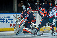 KELOWNA, CANADA - MARCH 24: Connor Ingram #39 of the Kamloops Blazers defends the net against the Kelowna Rockets on March 24, 2017 at Prospera Place in Kelowna, British Columbia, Canada.  (Photo by Marissa Baecker/Shoot the Breeze)  *** Local Caption ***
