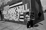 """Mural in the Bedford-Stuyvessant neighborhood of Brooklyn, NY...Part of long-term (2005-2008) story """"I See A Darkness"""". New York, NY."""