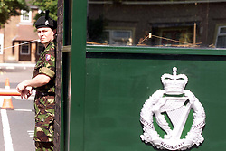 Soldiers guarding Howe Barracks, where the first Royal Irish Regiment are based in Canterbury August 27, 2000. Photo by Andrew Parsons / i-Images..