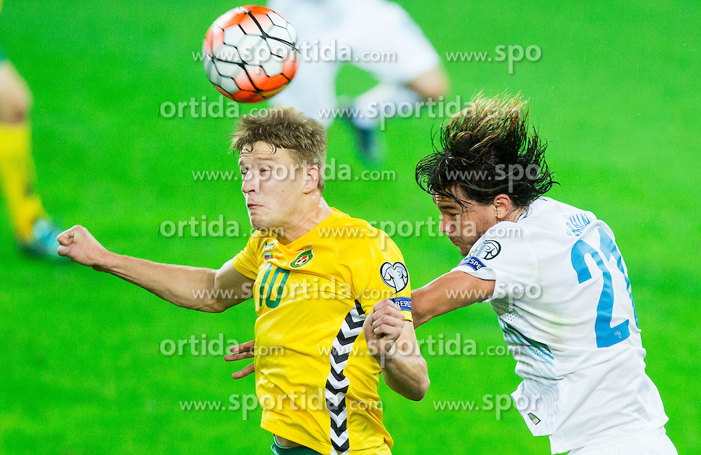 Vykintas Slivka of Lithuania vs Rene Krhin of Sloveniaduring the EURO 2016 Qualifier Group E match between Slovenia and Lithuania, on October 9, 2015 in SRC Stozice, Ljubljana Slovenia. Photo by Vid Ponikvar / Sportida