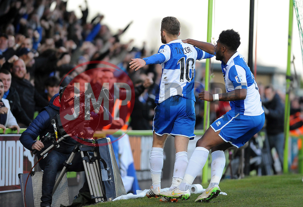 Bristol Rovers' Matty Taylor celebrates with Bristol Rovers' Ellis Harrison - Photo mandatory by-line: Neil Brookman/JMP - Mobile: 07966 386802 - 29/04/2015 - SPORT - Football - Nailsworth - The New Lawn - Forest Green Rovers v Bristol Rovers - Vanarama Football Conference