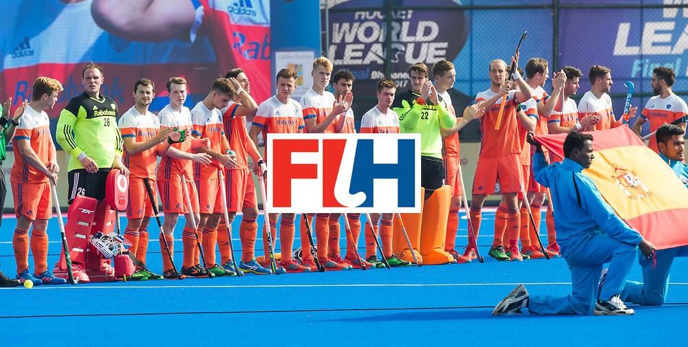 BHUBANESWAR -  Line up Oranje voor de Hockey World League Final wedstrijd Nederland-Spanje . COPYRIGHT  KOEN SUYK