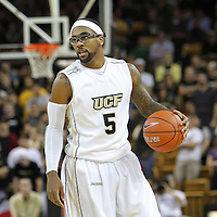 Central Florida guard Marcus Jordan (5) during a Conference USA NCAA basketball game between the Marshall Thundering Herd and the Central Florida Knights at the UCF Arena on January 5, 2011 in Orlando, Florida. Central Florida won the game 65-58 and extended their record to 14-0.  (AP Photo/Alex Menendez)