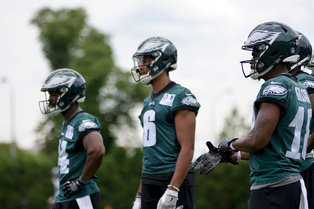 Philadelphia Eagles team members attend practice at the NovaCare Complex in South Philadelphia a day after the canceled invite to the Super Bowl Championship celebration at the White House. (Bastiaan Slabbers for WHYY)