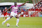 Barnet FC Striker John Akinde (9) has a shot on goal during the Sky Bet League 2 match between Crawley Town and Barnet at the Checkatrade.com Stadium, Crawley, England on 7 May 2016. Photo by Andy Walter.