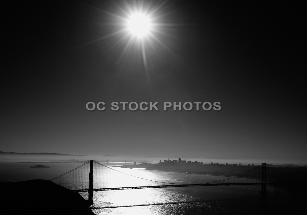 San Francisco Golden Gate Bridge Black and White at Night