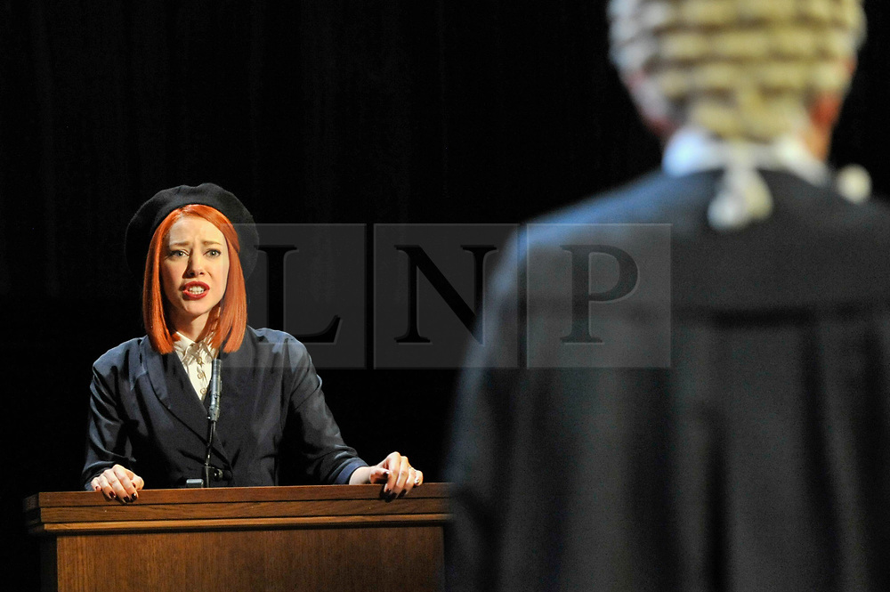 "© Licensed to London News Pictures. 20/10/2017. London, UK. Catherine Steadman as Romaine, on the witness stand.  Photocall for ""Witness for the Prosecution"", by Agatha Christie, directed by Lucy Bailey, at London County Hall.  The play opens 23 October. Photo credit : Stephen Chung/LNP"