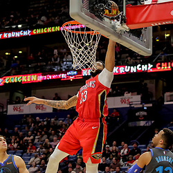Dec 5, 2018; New Orleans, LA, USA; New Orleans Pelicans forward Anthony Davis (23) attempts a dunk over Dallas Mavericks guard Jalen Brunson (13) during the second half at the Smoothie King Center. Mandatory Credit: Derick E. Hingle-USA TODAY Sports