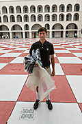 An incoming Citadel freshman known as a knob waits to be issued gear during matriculation day on August 17, 2013 in Charleston, South Carolina. The Citadel is a state military college that began in 1843.