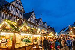 Traditional stalls at Celle Christmas Market in Lower Saxony, Germany