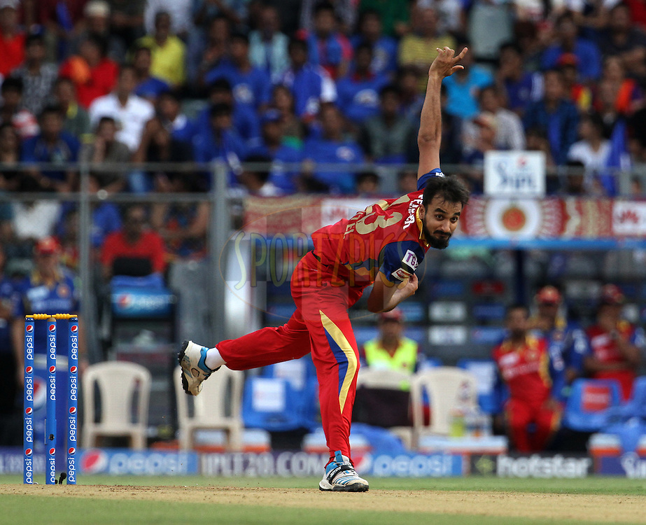 Royal Challengers Bangalore player Harshal Patel bowls during match 46 of the Pepsi IPL 2015 (Indian Premier League) between The Mumbai Indians and The Royal Challengers Bangalore held at the Wankhede Stadium in Mumbai, India on the 10th May 2015.<br /> <br /> Photo by:  Vipin Pawar / SPORTZPICS / IPL