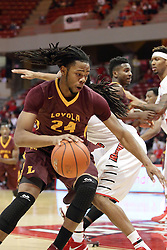 06 January 2016: Montel James(24) tries to take the baseline defended by Tony Wills(12) during the Illinois State Redbirds v Loyola-Chicago Ramblers at Redbird Arena in Normal Illinois (Photo by Alan Look)