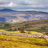 Quarries below Ingleborough from above Stainforth