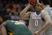 Ohio State forward Jared Sullinger (0) attempts a free throw in OSU's 98-66 win against George Mason in the third round of the NCAA Tournament on March 20, 2011, in Cleveland.