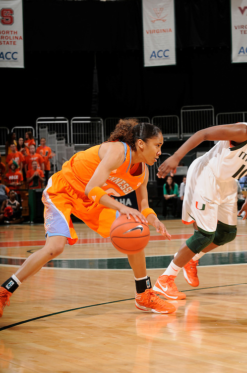 November 18, 2012: Meighan Simmons #10 of the Tennessee Volunteers in action during the NCAA basketball game between the Miami Hurricanes and the Tennessee Volunteers at the Bank United Center in Coral Gables, FL. The Volunteers defeated the Hurricanes 79-67.