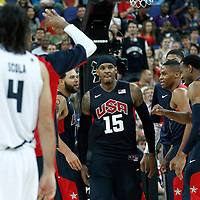 10 August 2012: USA Carmelo Anthony is congratulated by his teammates during 109-80 Team USA victory over Team Argentina, during the men's basketball semi-finals, at the North Greenwich Arena, in London, Great Britain.