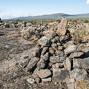 Cairns of rocks piled on the Lemosho Route of Mt. Kilimanjaro.