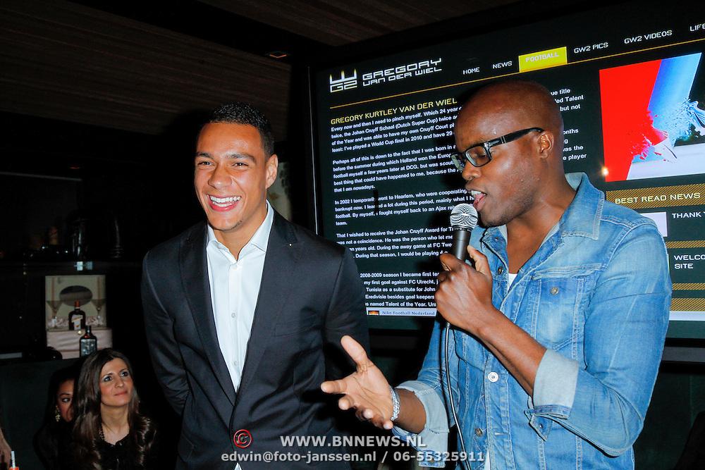 NLD/Amsterdam/20120515 - Lancering Gregory van der Wiel website, Gregory samen met Jandino Asporaat